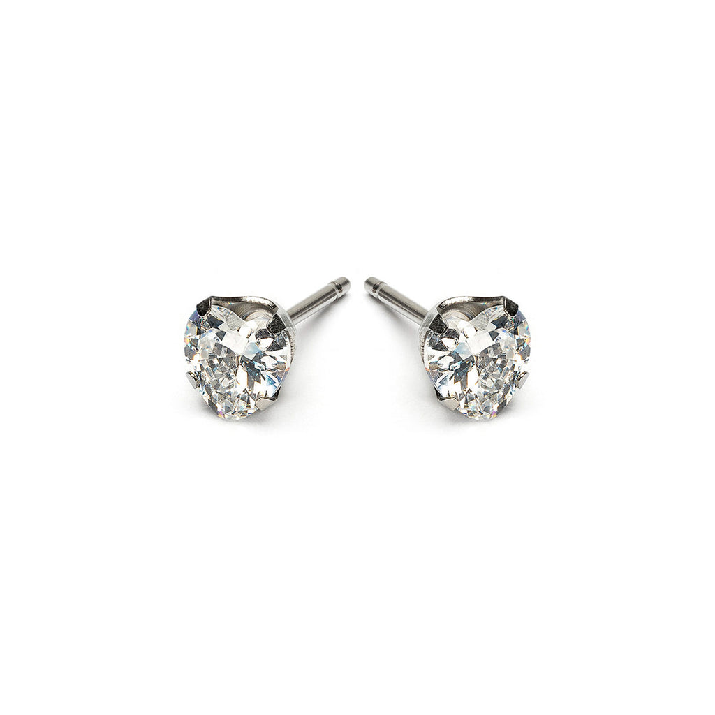 Stainless Steel 5 mm Heart Cubic Zirconia Stud Earrings - Simply Whispers