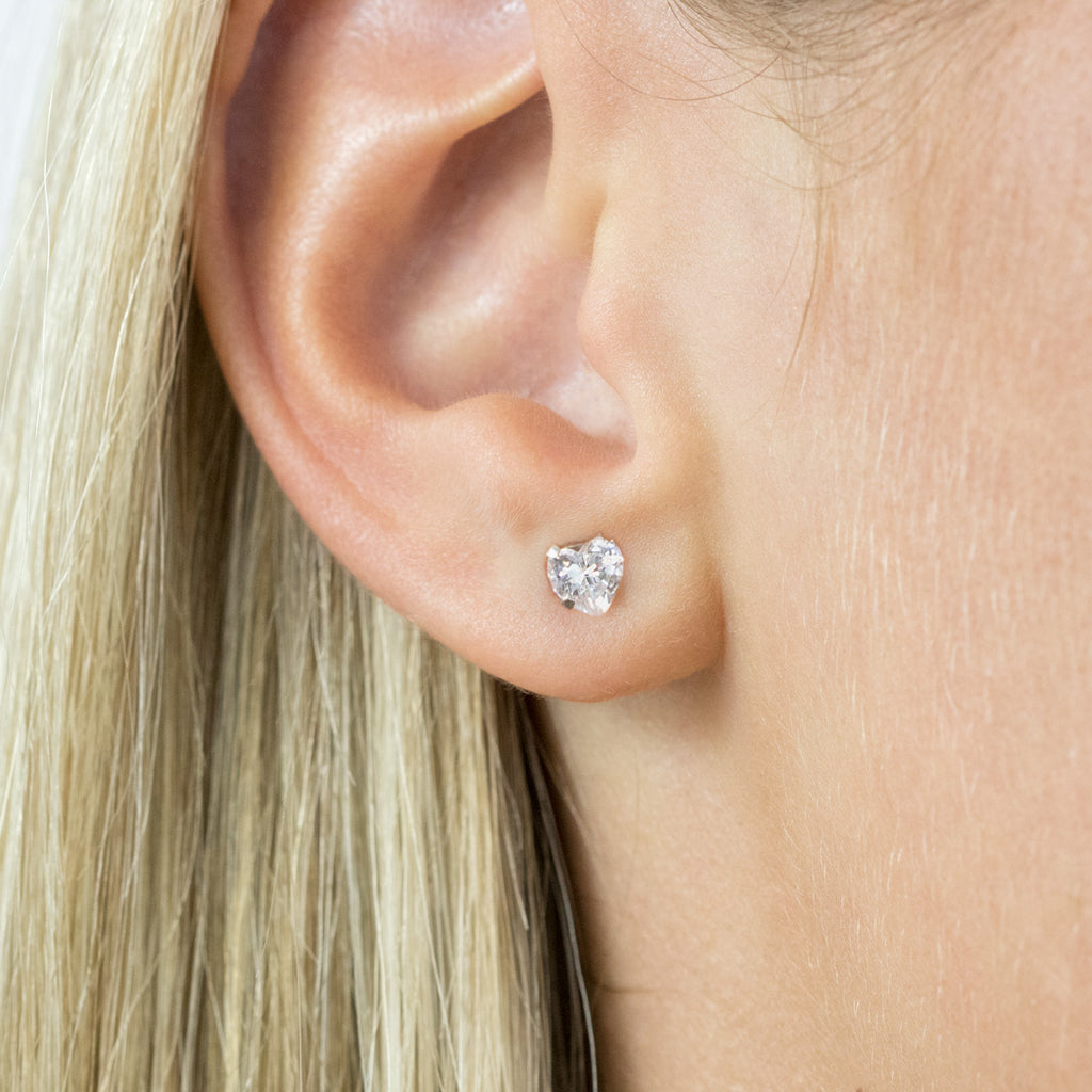 Heart Cubic Zirconia Stud Earrings Stainless Steel - Simply Whispers