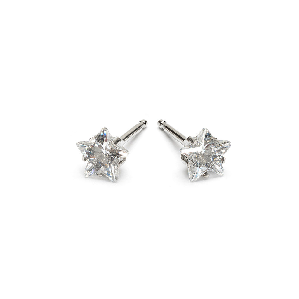 Stainless Steel 5 mm Star Cubic Zirconia Stud Earrings - Simply Whispers