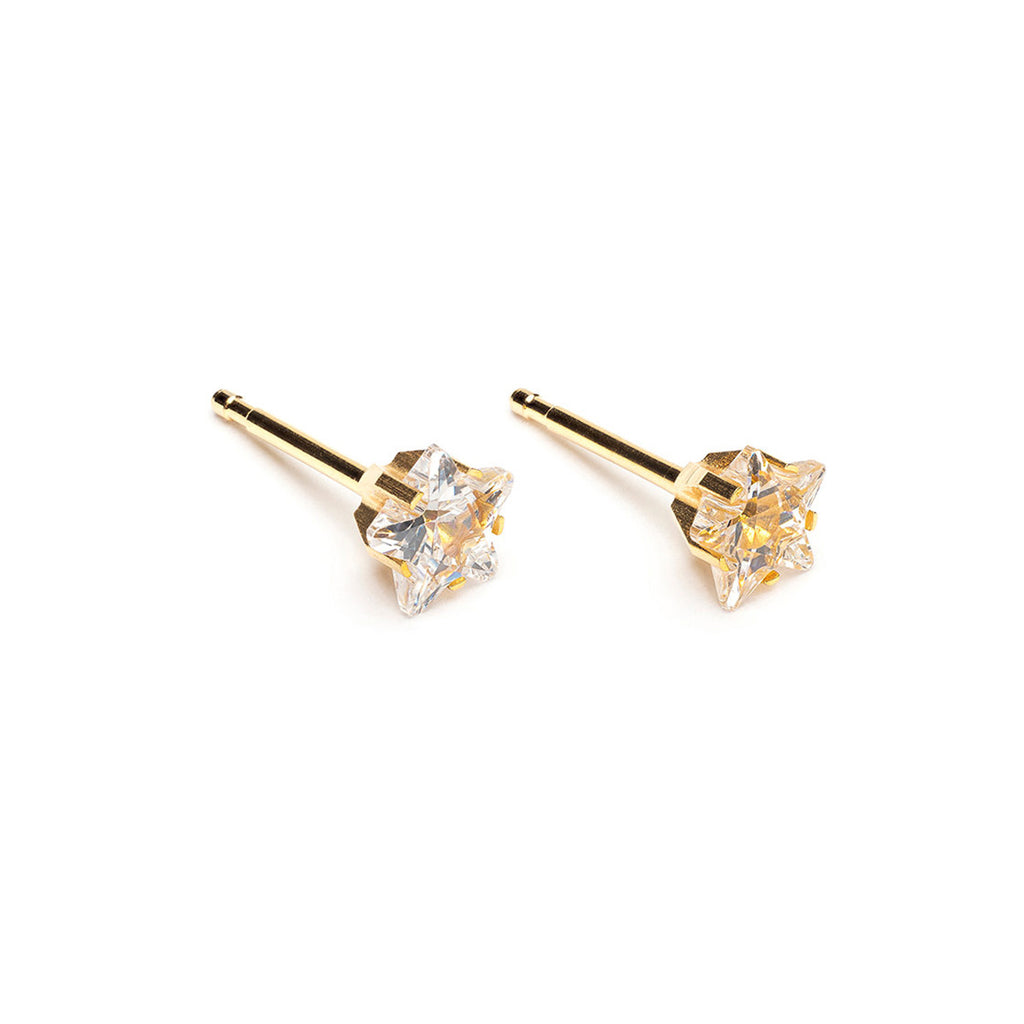 Gold Plated 5 mm Star Cubic Zirconia Stud Earrings - Simply Whispers