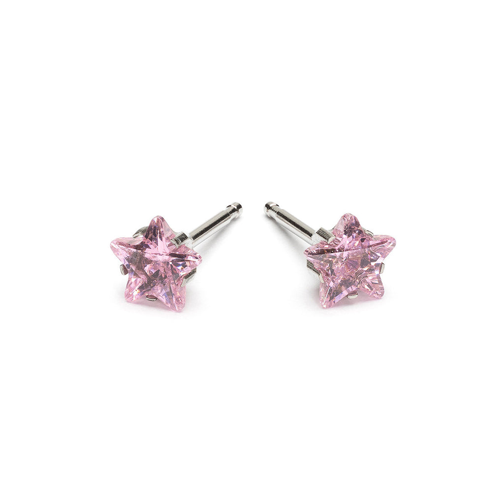 Stainless Steel 5 mm Pink Star Cubic Zirconia Stud Earrings - Simply Whispers