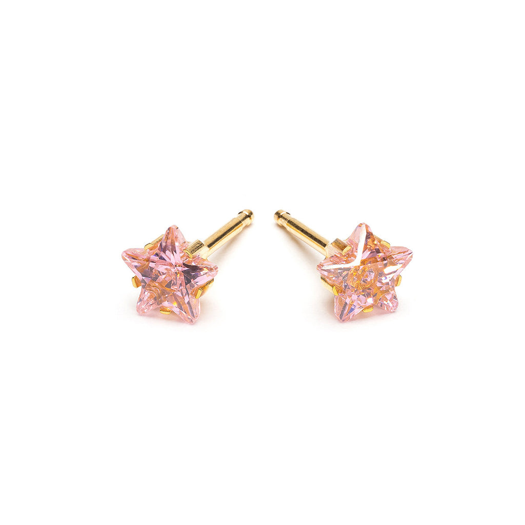Gold Plated 5 mm Pink Star Cubic Zirconia Stud Earrings - Simply Whispers