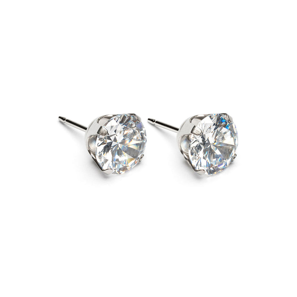 Stainless Steel 8 mm Round Cubic Zirconia Stud Earrings - Simply Whispers