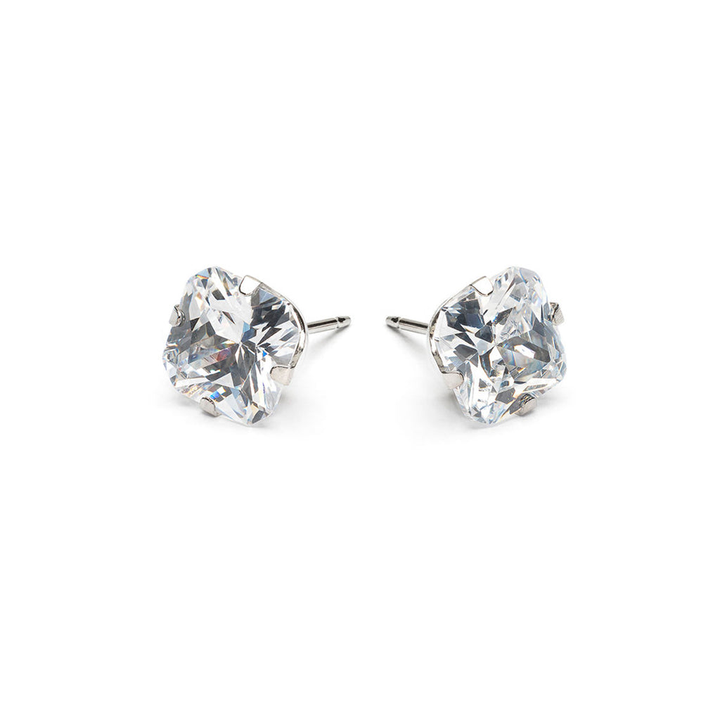 Stainless Steel 8 mm Square Cubic Zirconia Stud Earrings - Simply Whispers