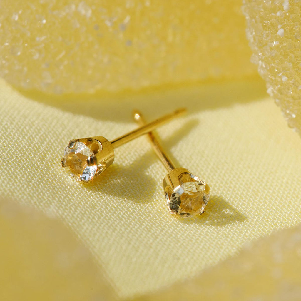 14k Gold April Birthstone Stud Earrings - Simply Whispers