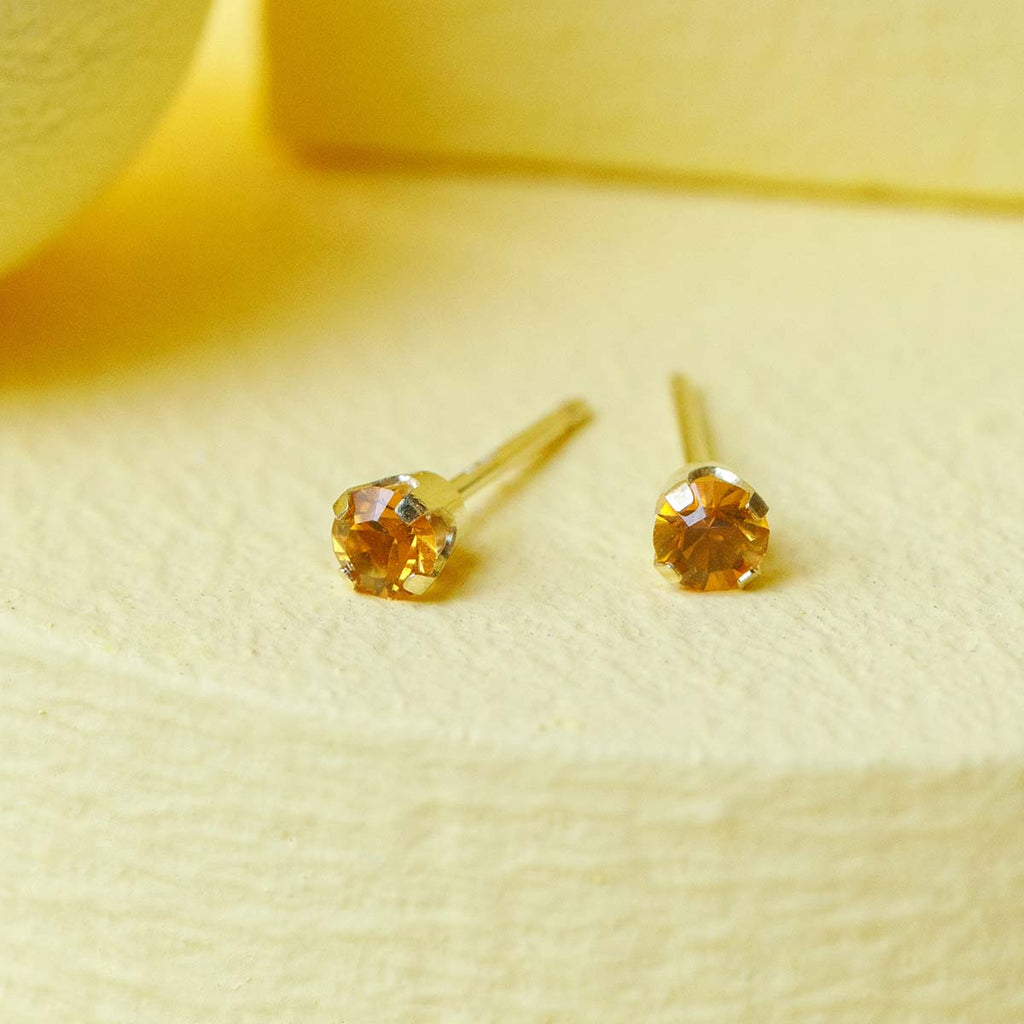 14k Gold November Birthstone Stud Earrings