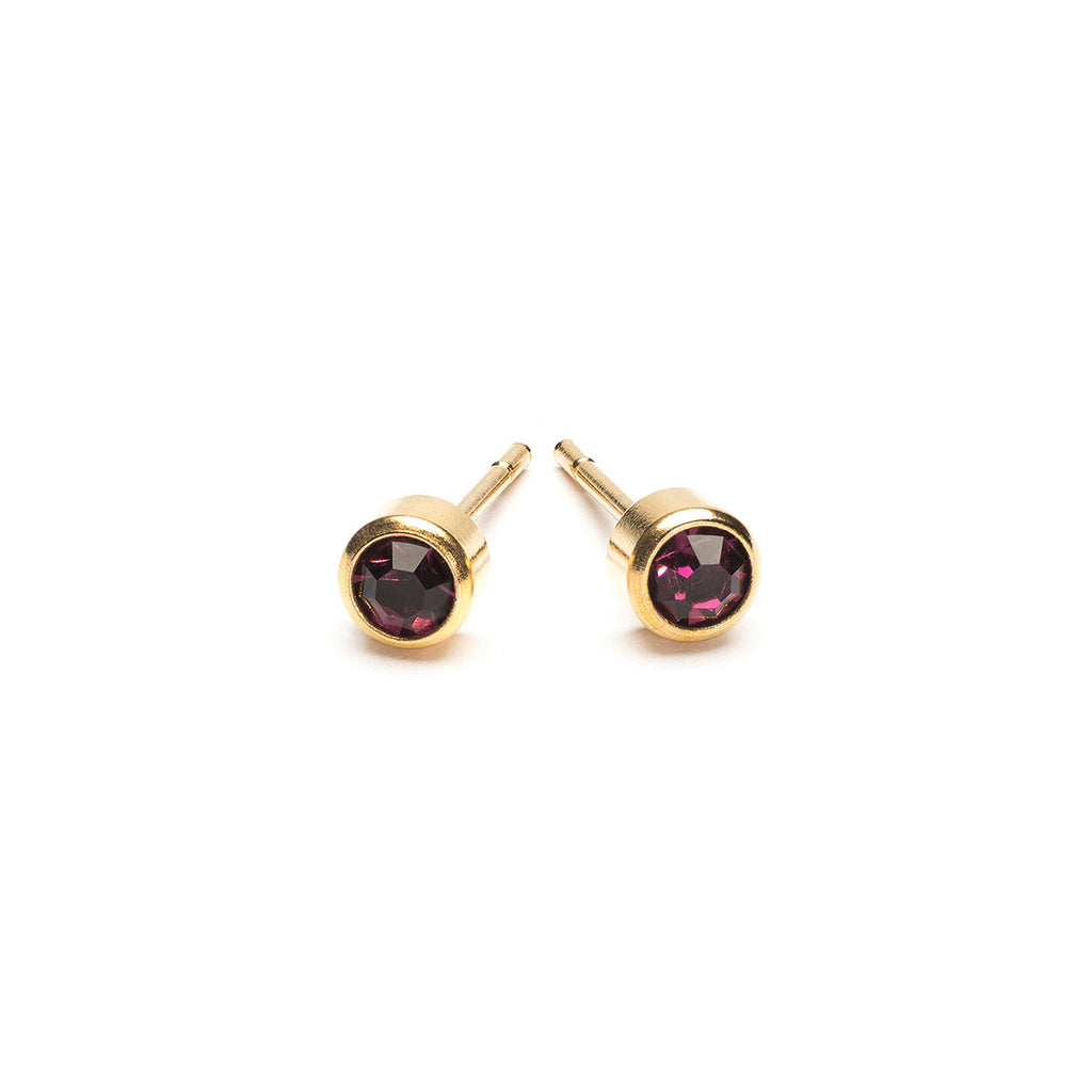 Gold Plated 3 mm February Birthstone Stud Earrings - Simply Whispers