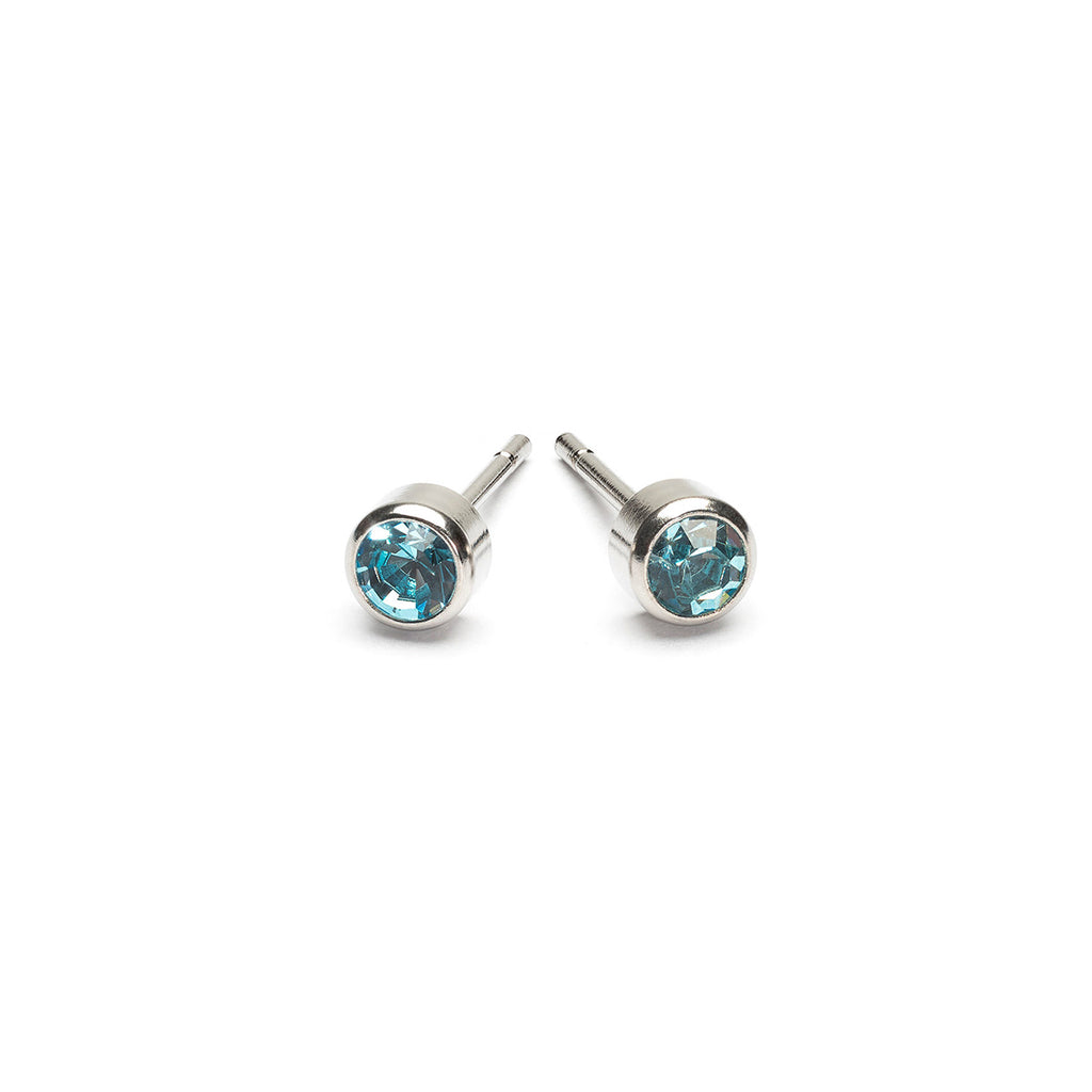 Stainless Steel 3 mm March Birthstone Stud Earrings - Simply Whispers