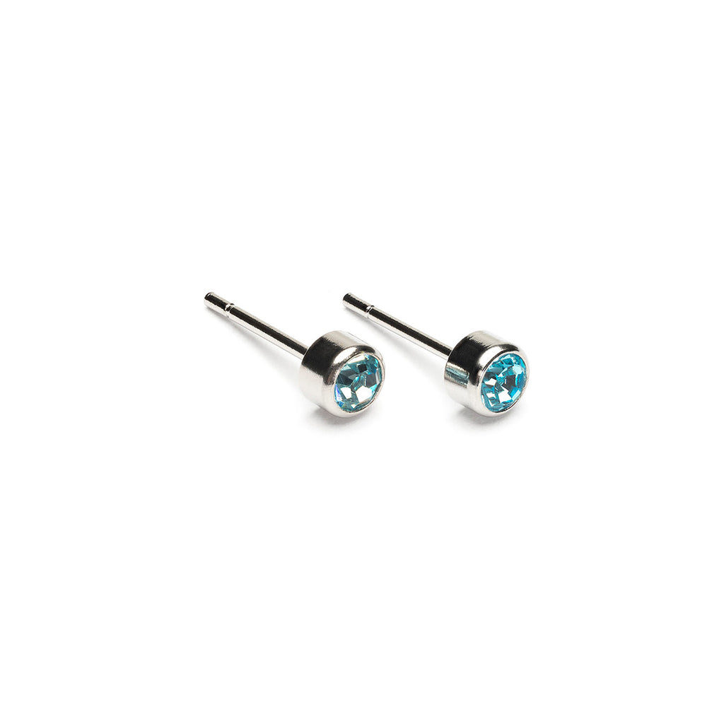 March Birthstone Stainless Steel Earrings - Simply Whispers