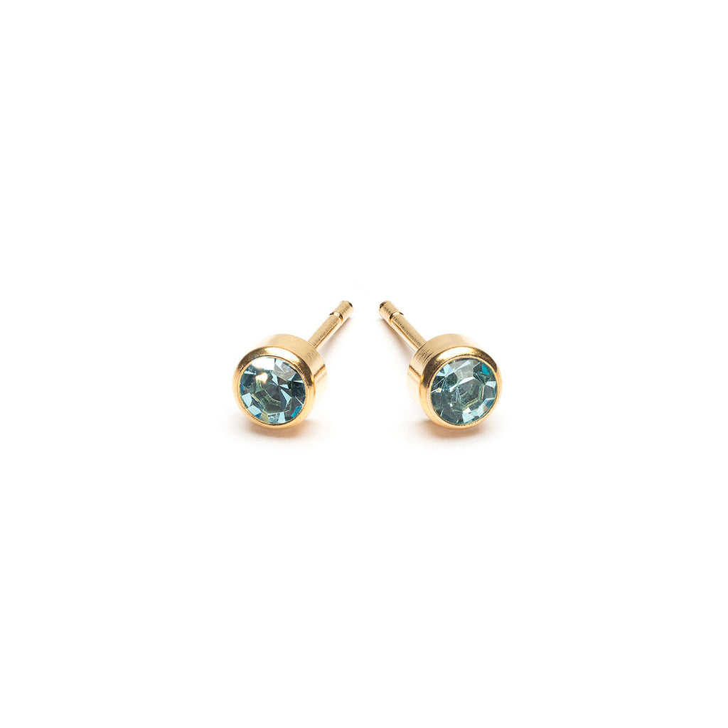 Gold Plated 3 mm March Birthstone Stud Earrings - Simply Whispers