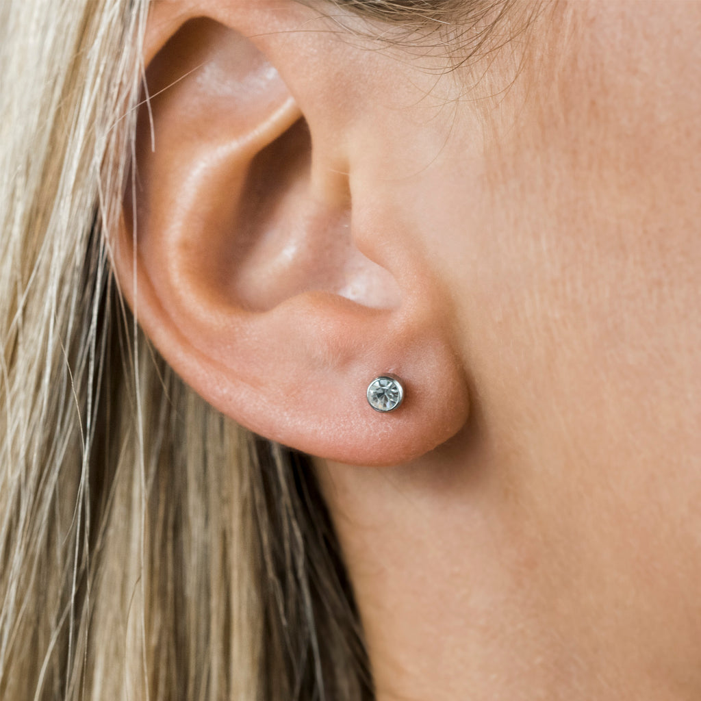 Stainless Steel 3 mm April Birthstone Stud Earrings - Simply Whispers