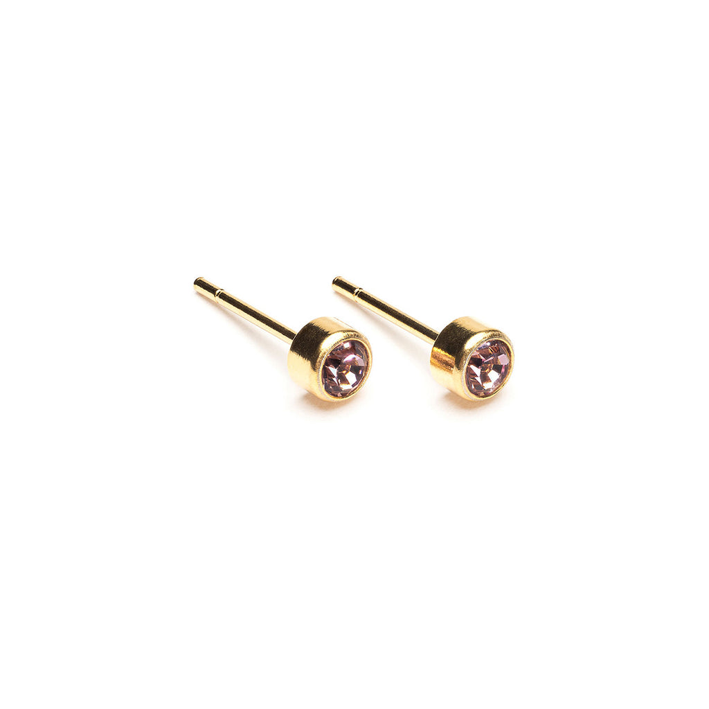 Gold Plated 3 mm June Birthstone Stud Earrings - Simply Whispers