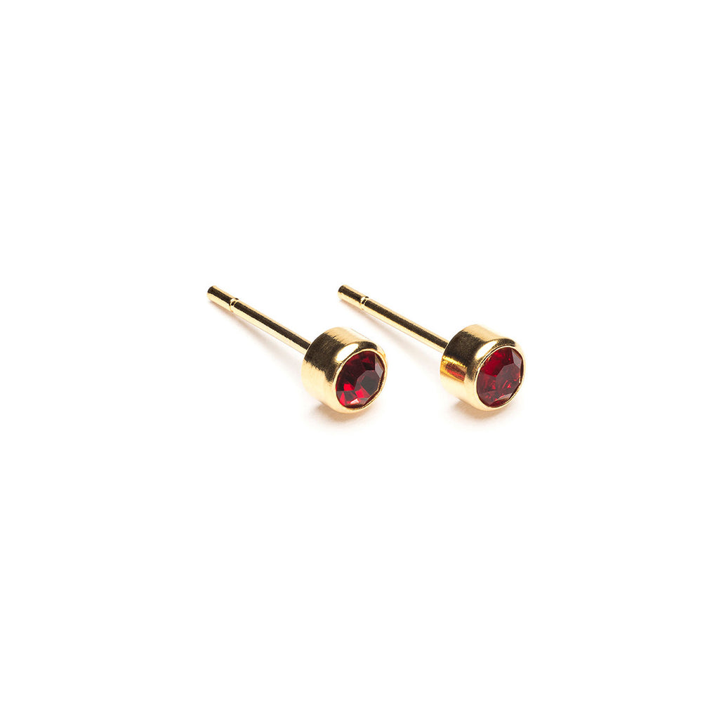 Gold Plated 3 mm July Birthstone Stud Earrings - Simply Whispers