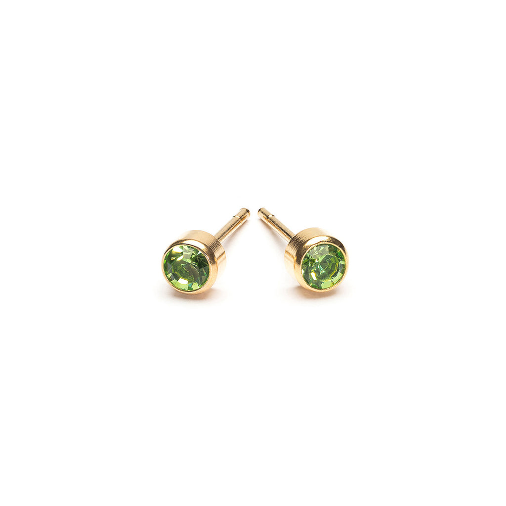 Gold Plated 3 mm August Birthstone Stud Earrings - Simply Whispers