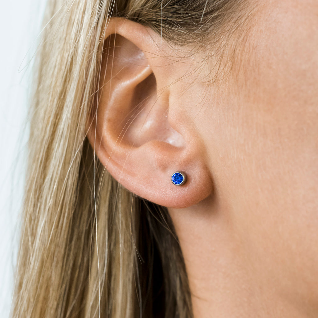 Stainless Steel 3 mm September Birthstone Stud Earrings - Simply Whispers