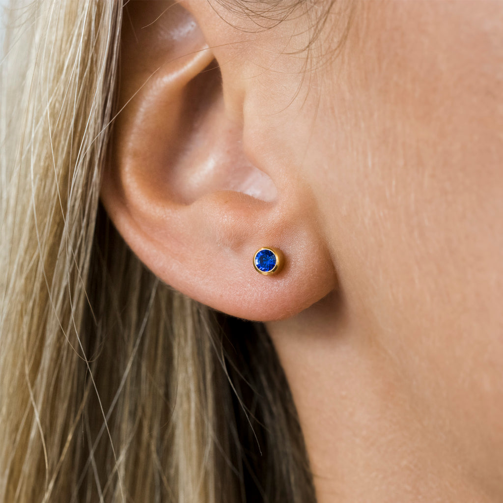 Gold Plated 3 mm September Birthstone Stud Earrings - Simply Whispers