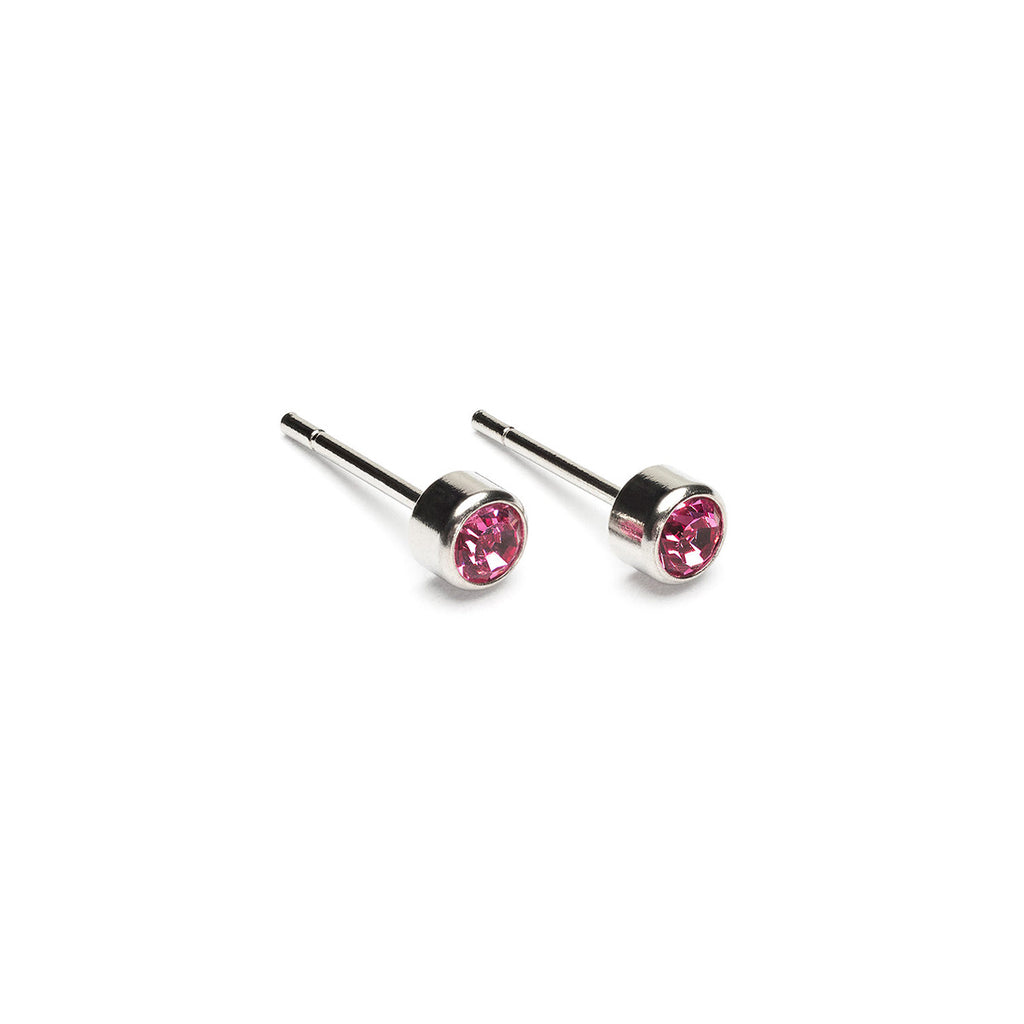 Stainless Steel 3 mm October Birthstone Stud Earrings - Simply Whispers