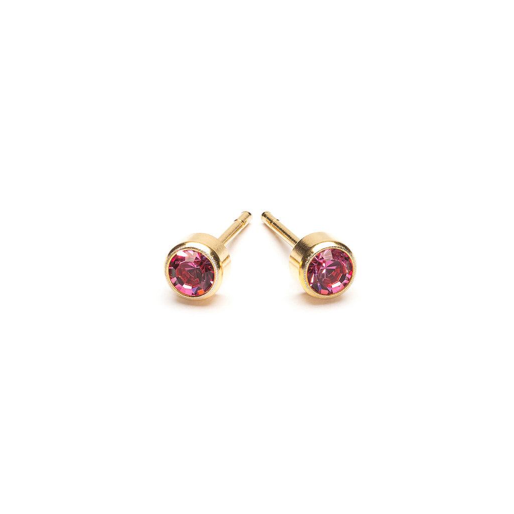 Gold Plated 3 mm October Birthstone Stud Earrings - Simply Whispers