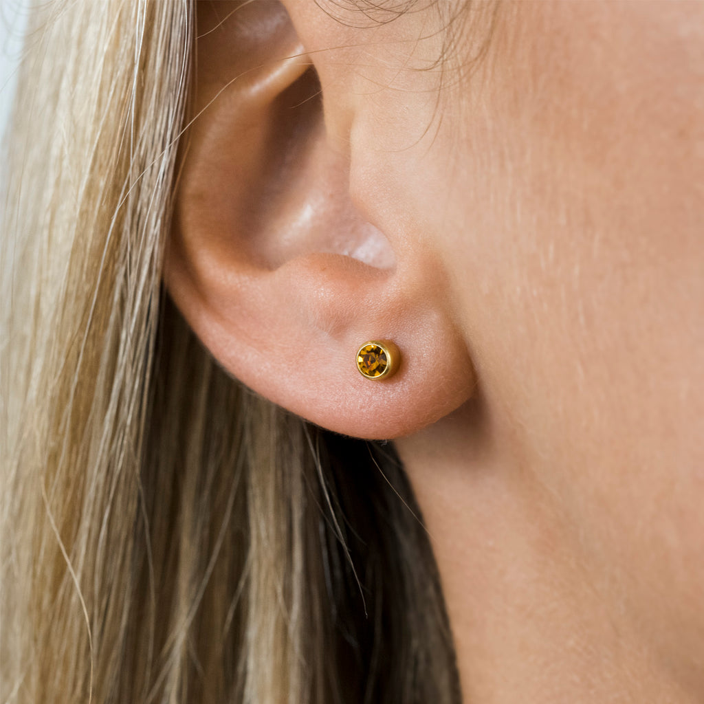 Gold Plated 3 mm November Birthstone Stud Earrings - Simply Whispers