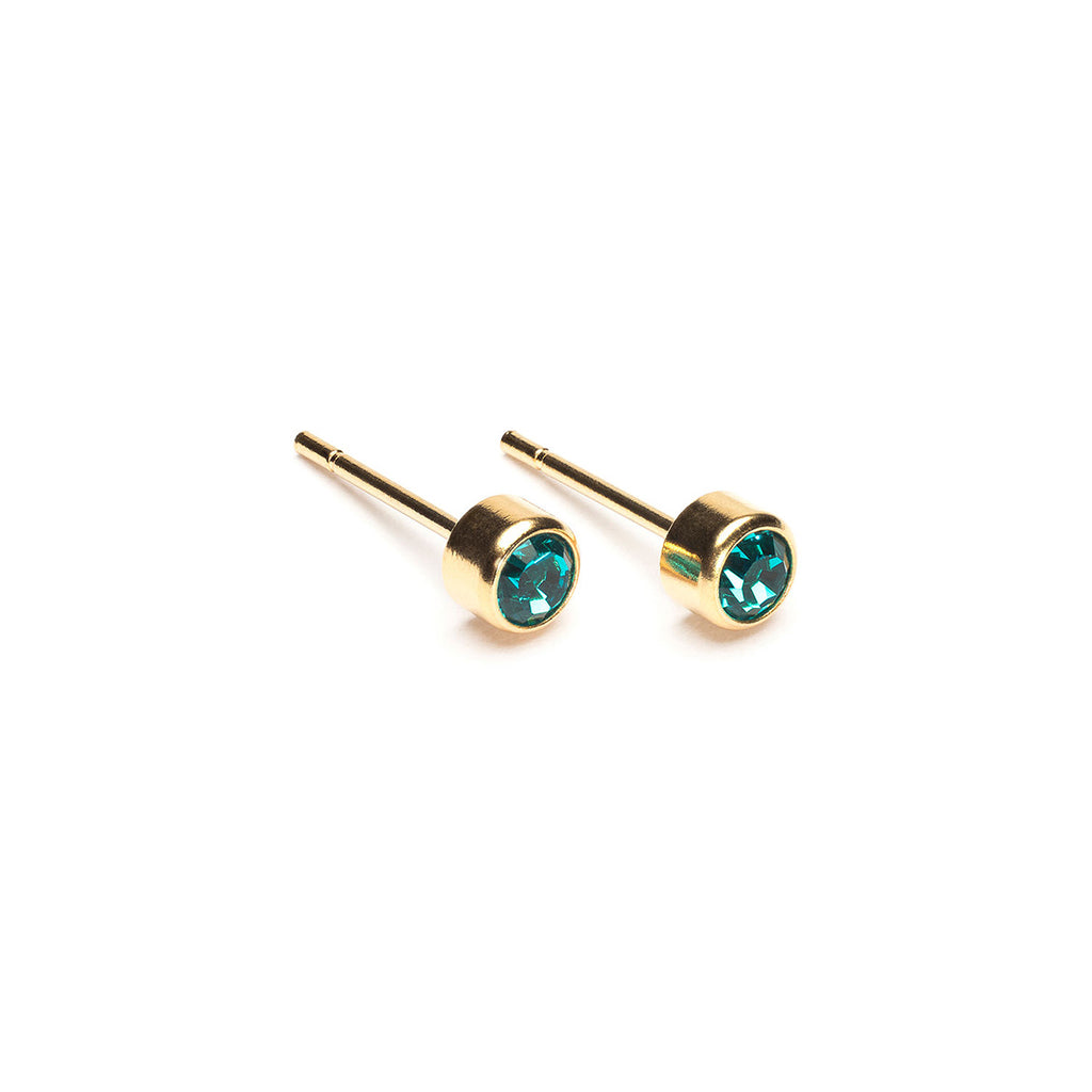 Gold Plated 3 mm December Birthstone Stud Earrings - Simply Whispers