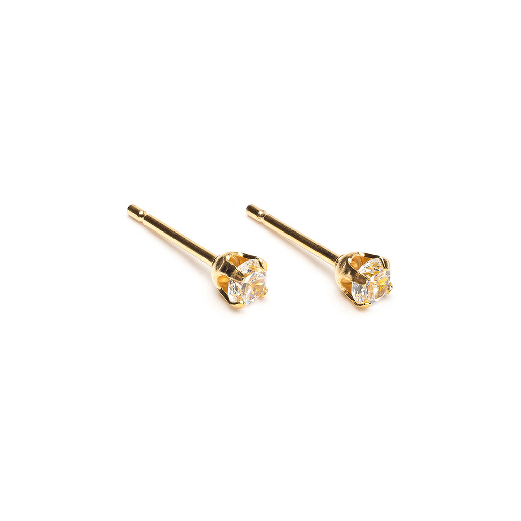 Gold Plated 3 mm Round Cubic Zirconia Stud Earrings - Simply Whispers