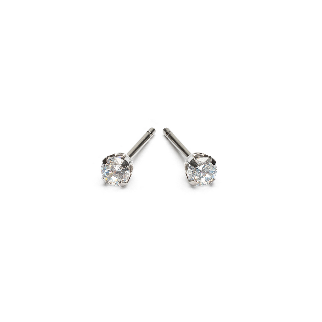 Stainless Steel 3 mm Round Cubic Zirconia Stud Earrings - Simply Whispers