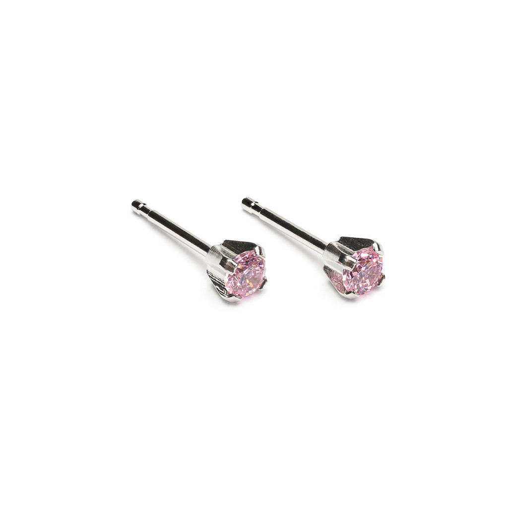 Stainless Steel 3 mm Pink Round Cubic Zirconia Stud Earrings - Simply Whispers