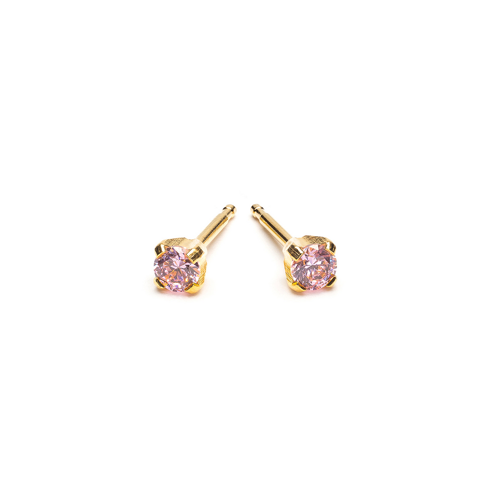 Gold Plated 3 mm Pink Round Cubic Zirconia Stud Earrings - Simply Whispers