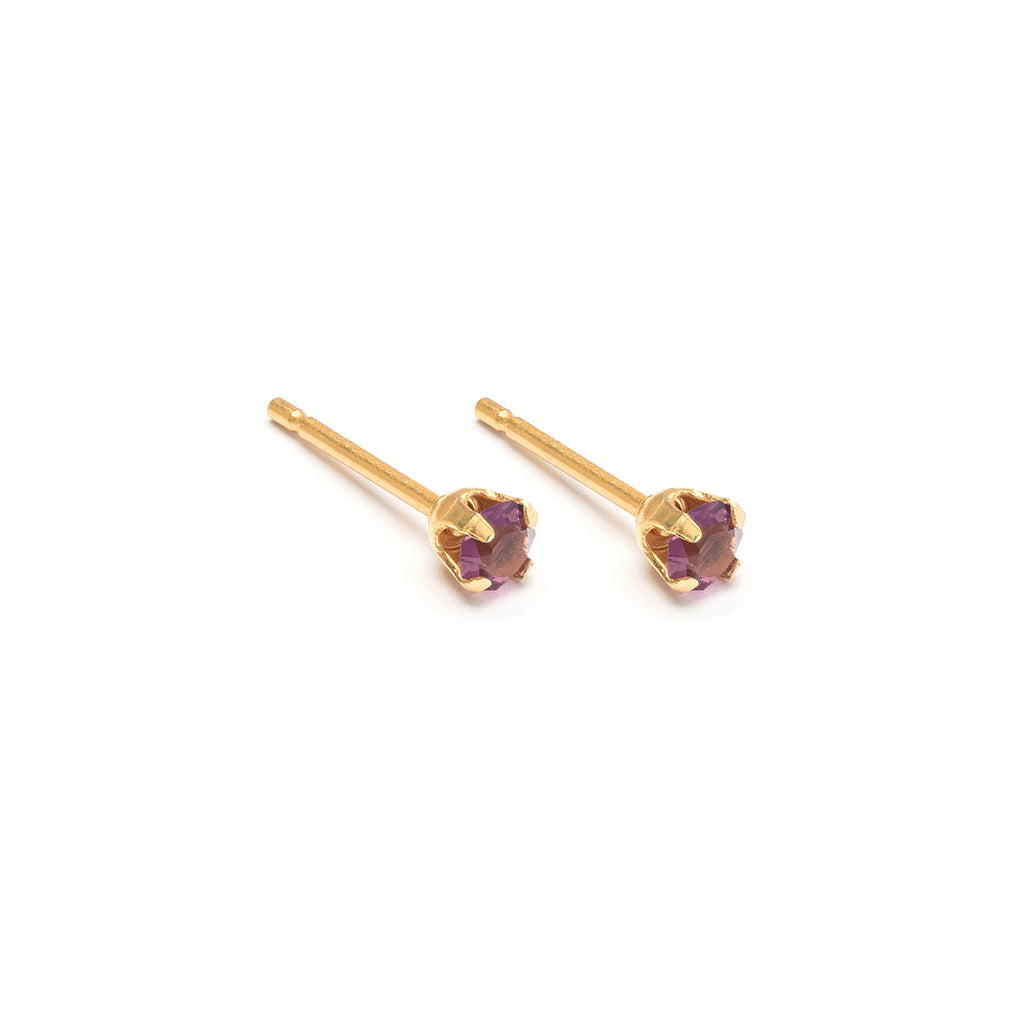 Gold Plated Stainless Steel 3 mm February Stud Earrings - Simply Whispers