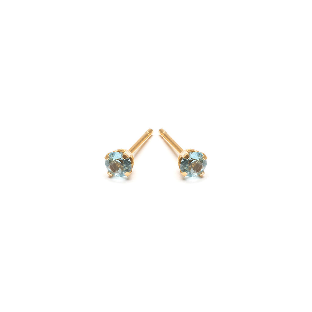 March Birthstone 14k Gold Plated Stud Earrings - Simply Whispers
