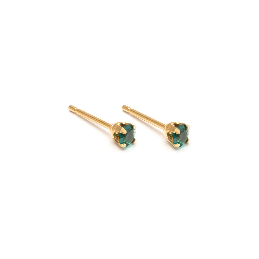 May Birthstone Gold Plated Stud Earrings - Simply Whispers