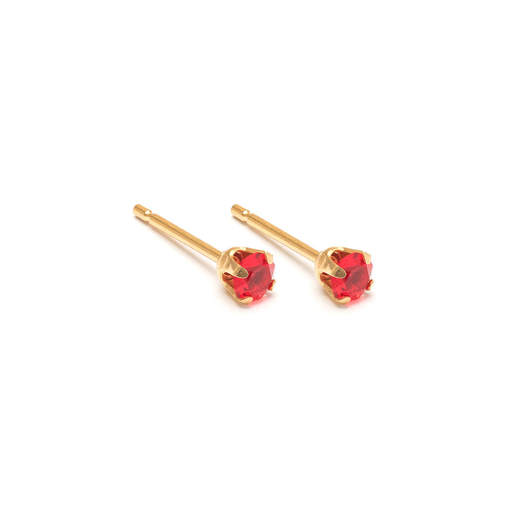 July Birthstone 14k Gold Plated Stud Earrings