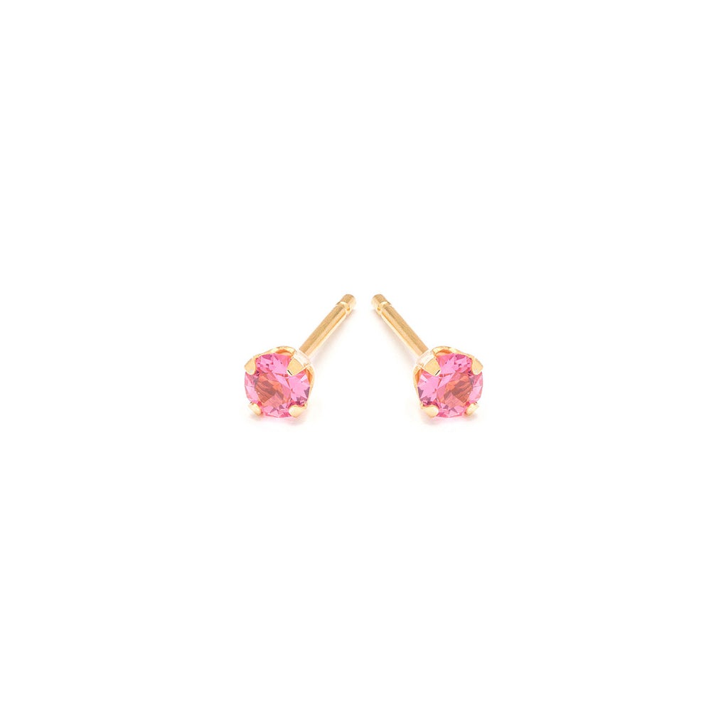 Gold Plated Stainless Steel 3 mm October Stud Earrings - Simply Whispers
