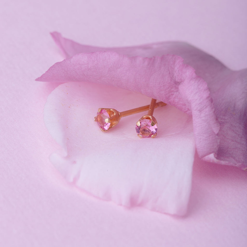October Birthstone Gold Plated Stud Earrings