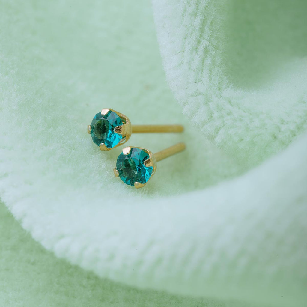 December Birthstone 14k Gold Plated Stud Earrings - Simply Whispers