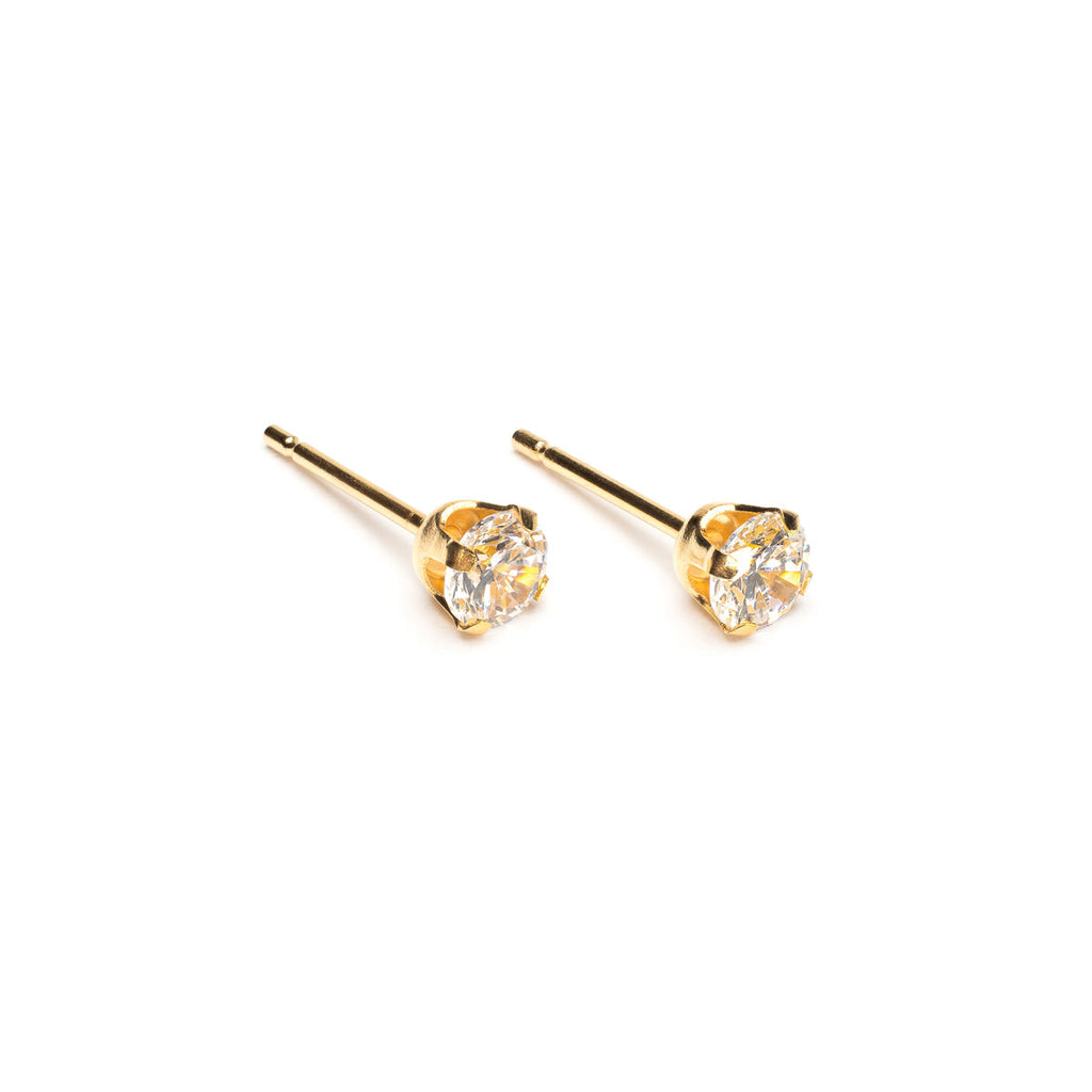 Gold Plated 4 mm Round Cubic Zirconia Stud Earrings - Simply Whispers