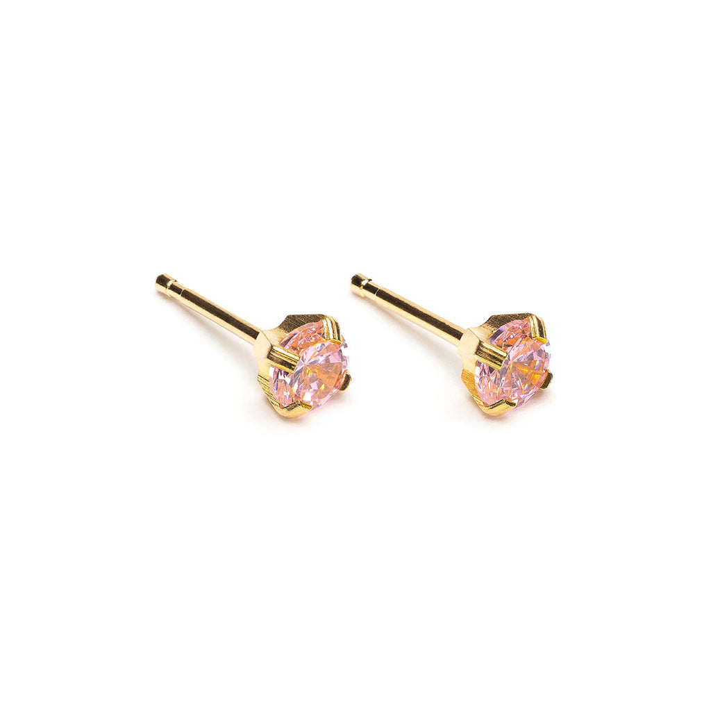 Gold Plated 4 mm Pink Round Cubic Zirconia Stud Earrings - Simply Whispers