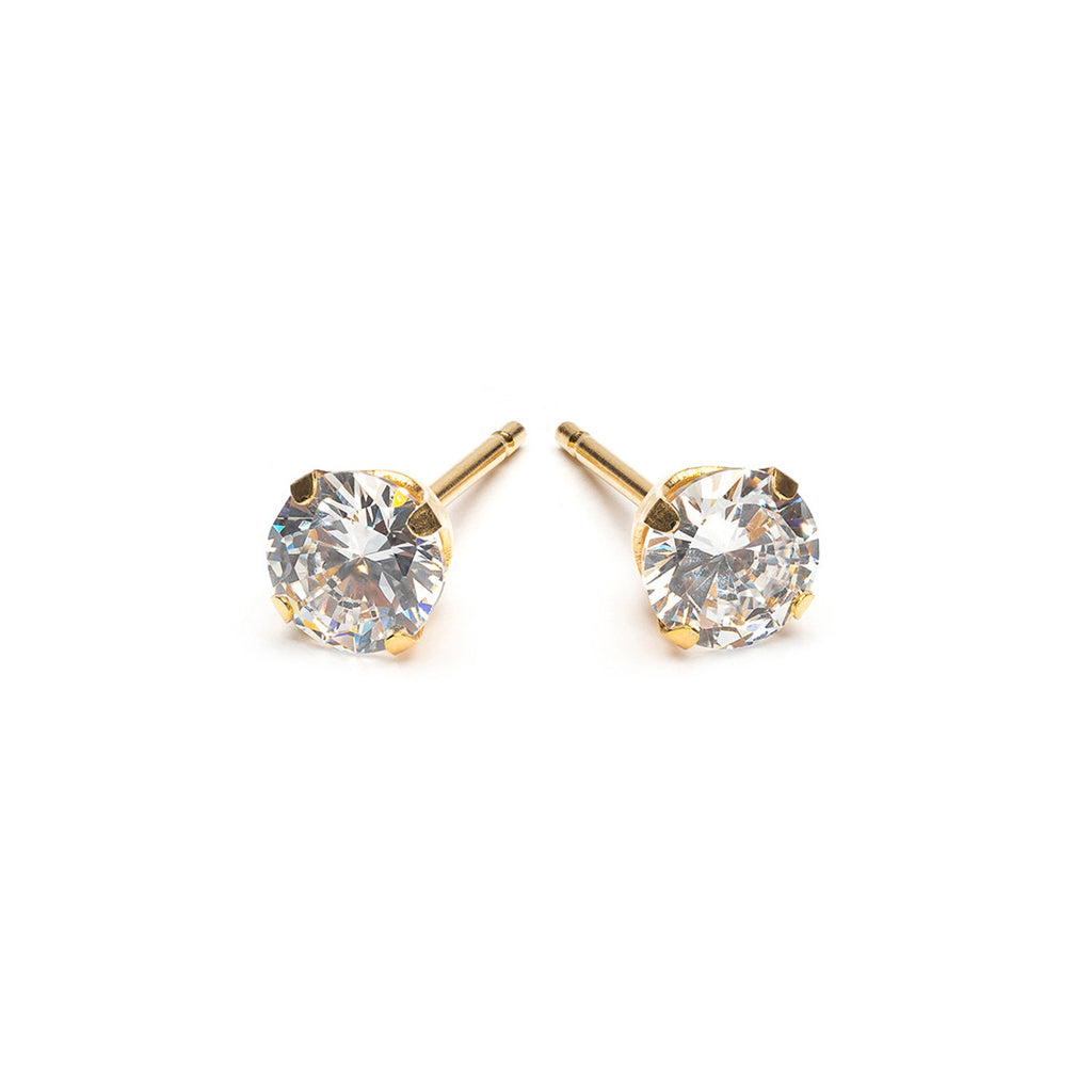 Gold plated 5 mm Round Cubic Zirconia Stud Earrings - Simply Whispers