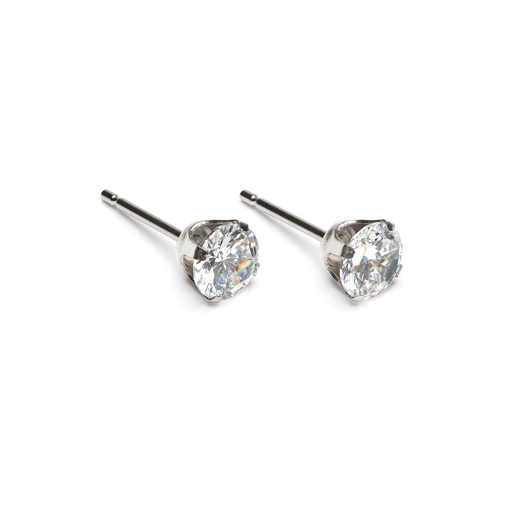 Stainless Steel 5 mm Round Cubic Zirconia Stud Earrings - Simply Whispers