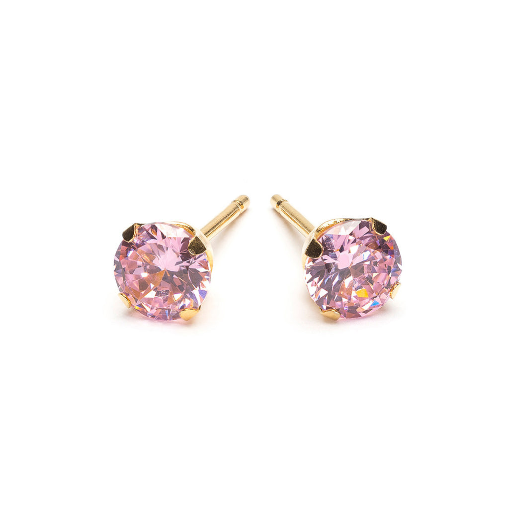 Gold Plated 5 mm Pink Round Cubic Zirconia Stud Earrings - Simply Whispers