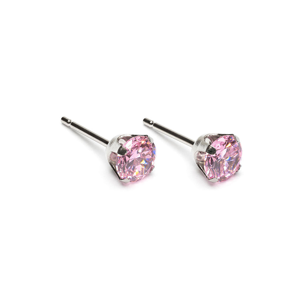 Stainless Steel 5 mm Pink Round Cubic Zirconia Stud Earrings - Simply Whispers