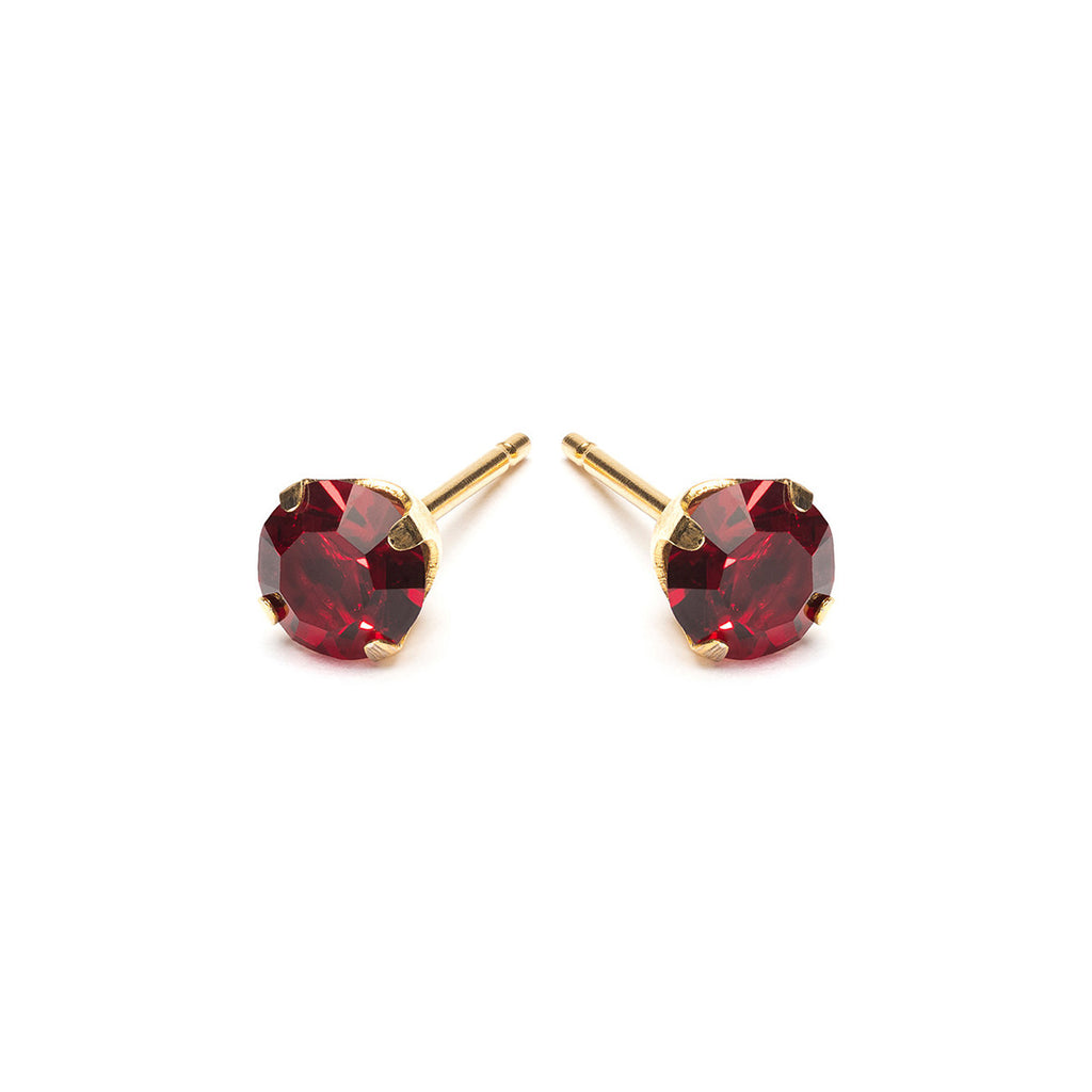 Gold Plated 5 mm January Birthstone Stud Earrings - Simply Whispers