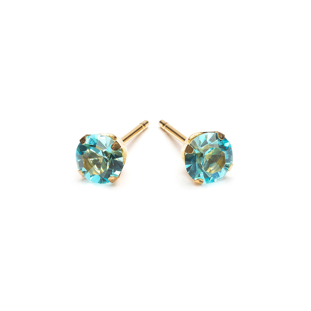 Gold Plated 5 mm March Birthstone Stud Earrings - Simply Whispers