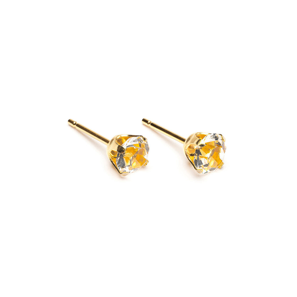 Gold Plated 5 mm April Birthstone Stud Earrings - Simply Whispers
