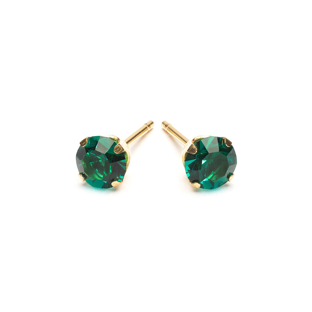 Gold Plated 5 mm May Birthstone Stud Earrings - Simply Whispers