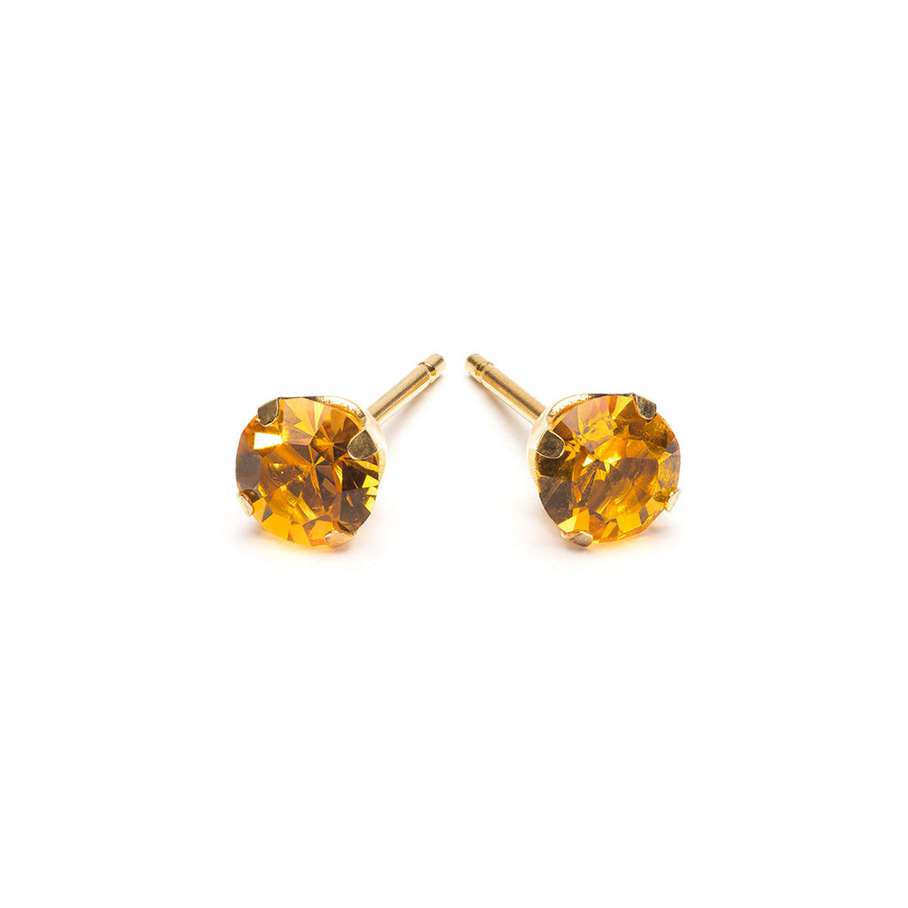 Gold Plated 5 mm November Birthstone Stud Earrings - Simply Whispers