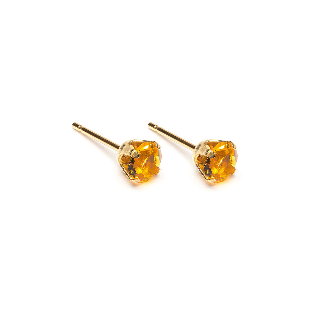 Gold Plated 5 mm November Birthstone Topaz Stud Earrings - Simply Whispers