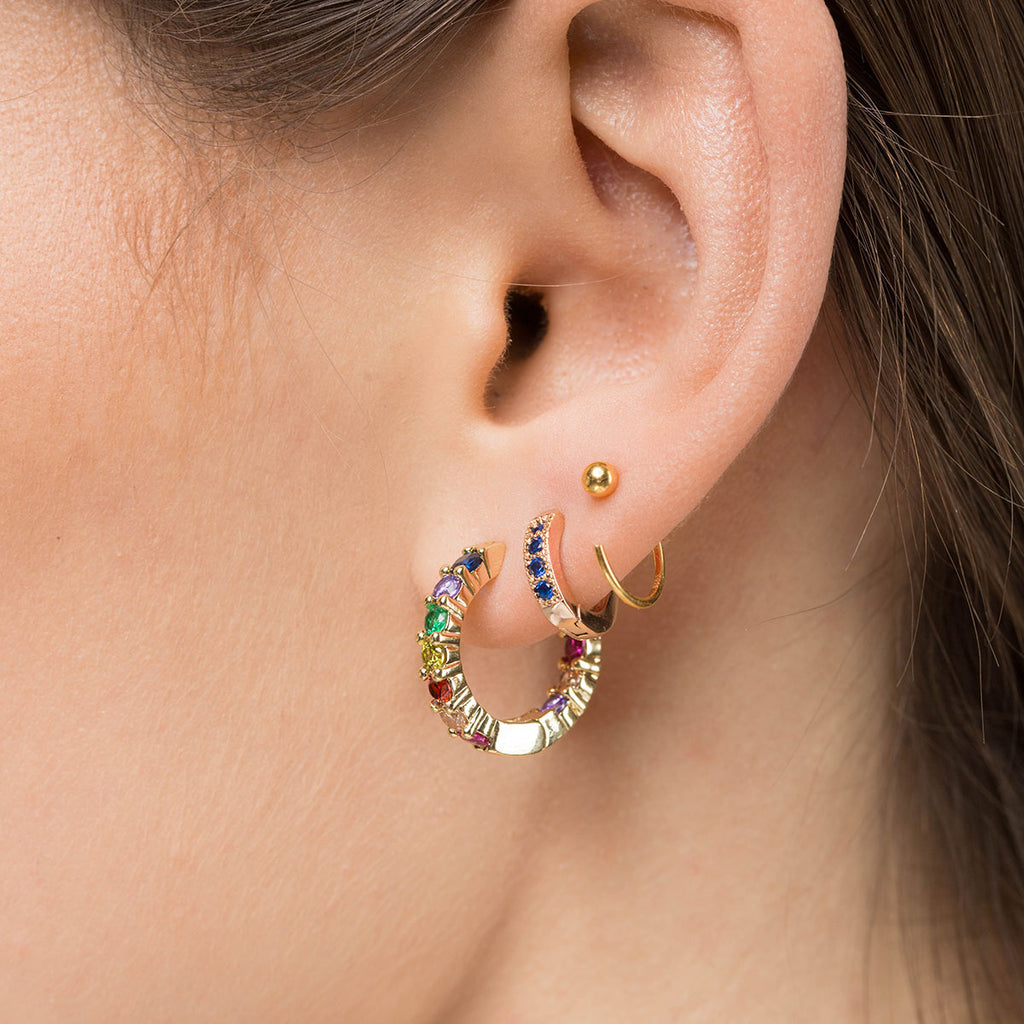 Rainbow Pave Huggie Earrings - Simply Whispers