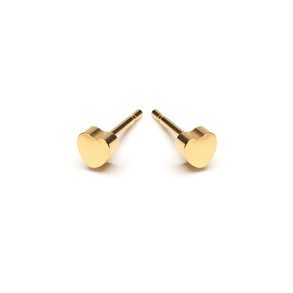 Gold Plated Heart Stud Earrings - Simply Whispers