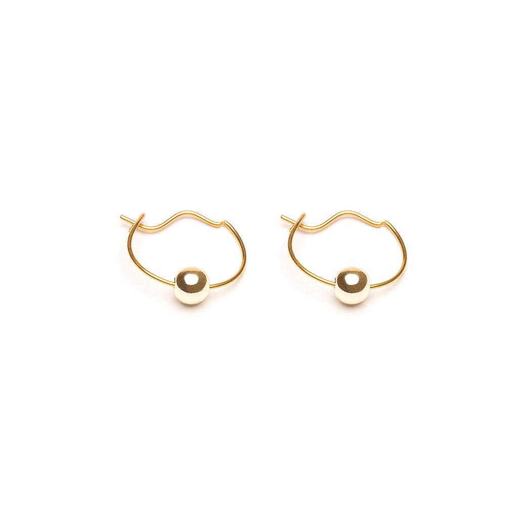 Gold Plated 4 mm Bead Continuous Hoop Earrings - Simply Whispers